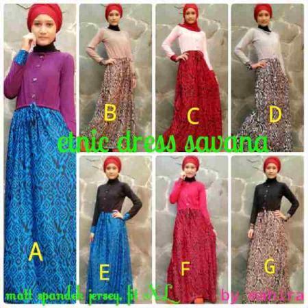 Setelan 3in1 Dress Maxi Skirt Jilbab Set Longdress Dress etnik fashion butiq laman 2