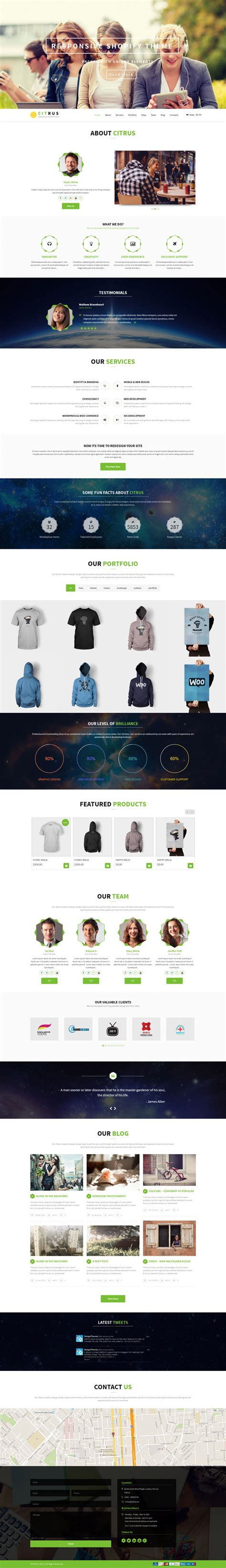 shopify themes parallax citrus the amazing one page parallax shopify theme