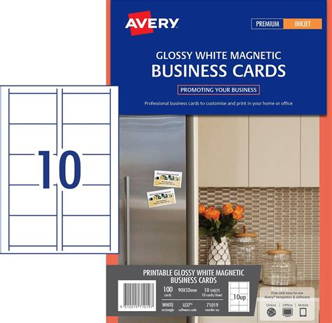 avery ink jet magnetic business cards template 36 50 avery australia 71019 ij37 magnetic gloss finish
