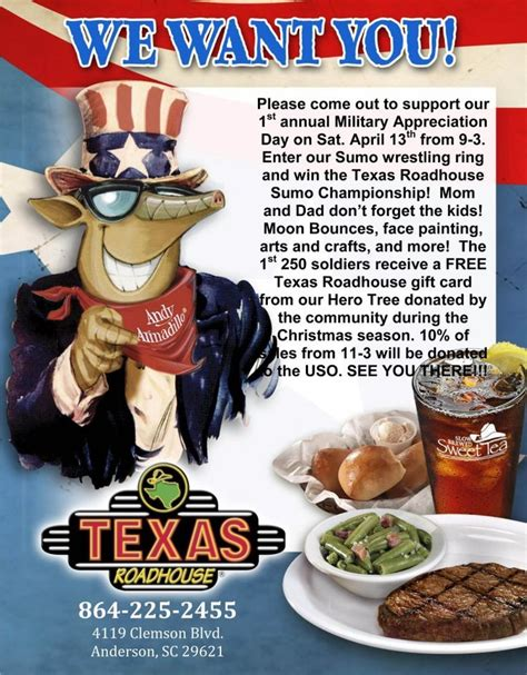 Texas Roadhouse Gift Card Coupon - gift card we want you please come out to support our 1st annual military appreciation