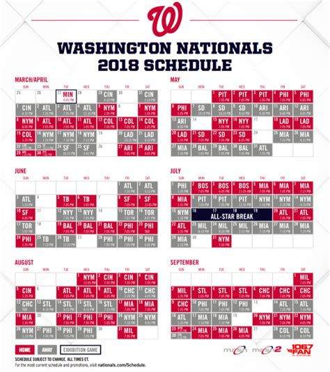 washington nationals baseball schedule 2018 washington dc
