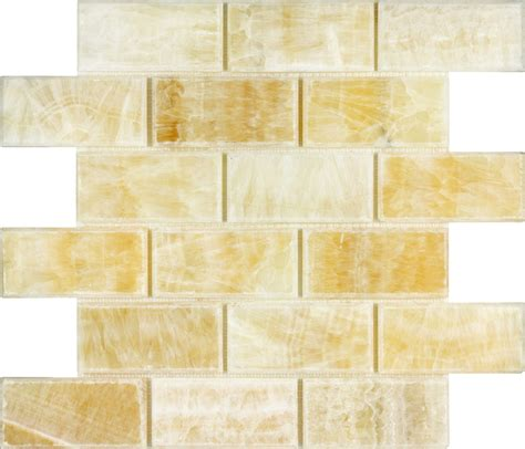 2x4 bevelled brick honey onyx polished mosaic