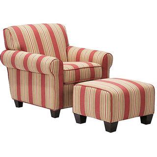 portfolio chair and ottoman portfolio mira 8 way hand tied crimson red stripe arm