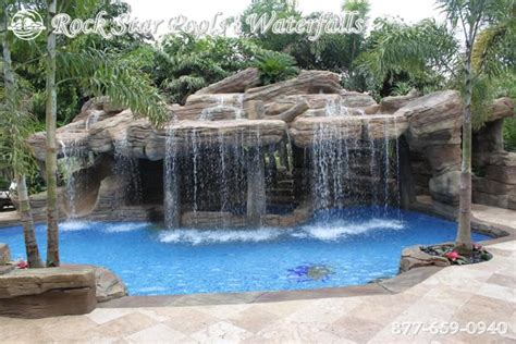pools with waterfalls rockstar waterfalls water features caves slides