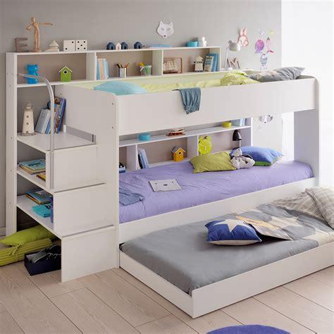parisot kids white bibop bunk bed  reversible panels kids avenue cuckooland