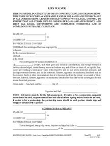 lien template standard lien waiver form 4 free templates in pdf word