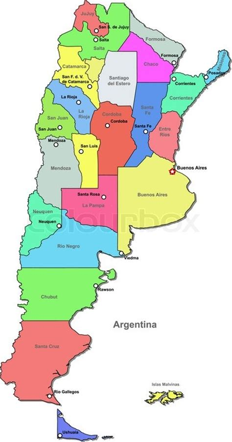 argentina political map vector political map of argentina with regions on a white