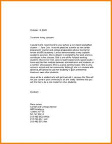 College Recommendation Letter For High School Student 5 Writing A Letter Of Recommendation For A Highschool Student Sle Of Invoice