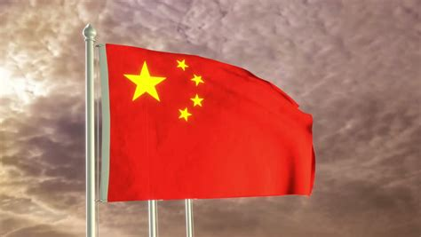 China Flag High Chrome flag of china waving in the wind against cloudy sky stock