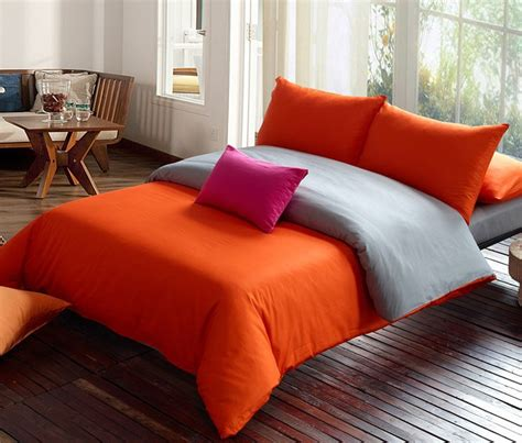 Orange And Gray Bedding by Free Shipping Solid Bedding Set Orange Gray Duvet Set