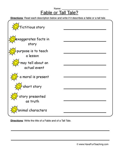 Fables Comprehension Worksheets by Fables Tales Worksheet
