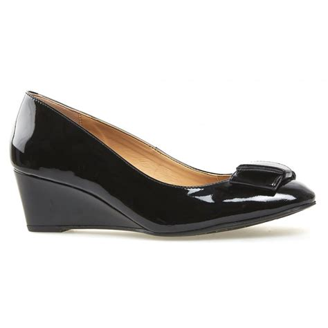dal womens camden black patent wedge court shoes