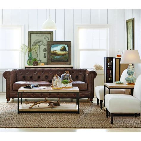 Home Decorators Co by Home Decorators Collection Gordon Brown Leather Sofa
