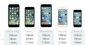 iphone 6 size comparison comparing the five current iphones iphone 7 plus vs 7 6s plus 6s and se