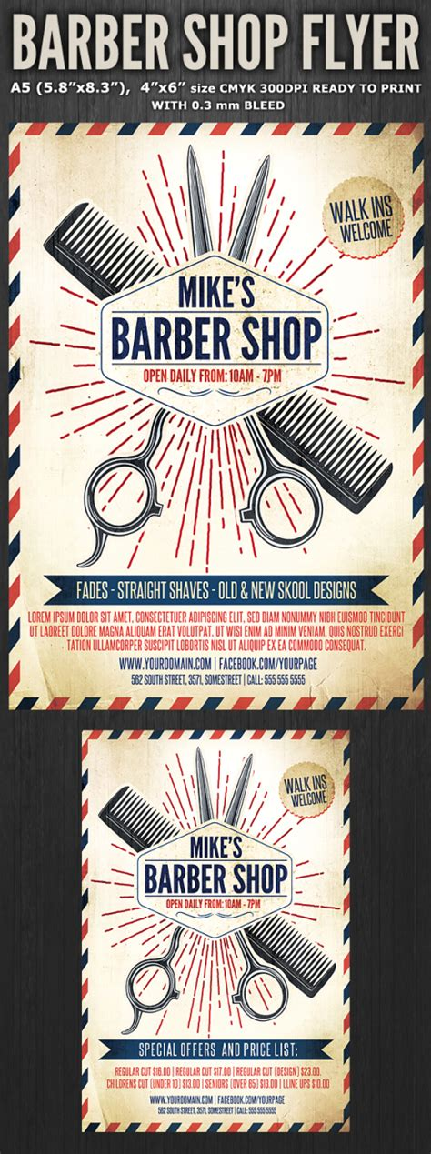 barber shop template flyerstemplates premium flyer templates and more
