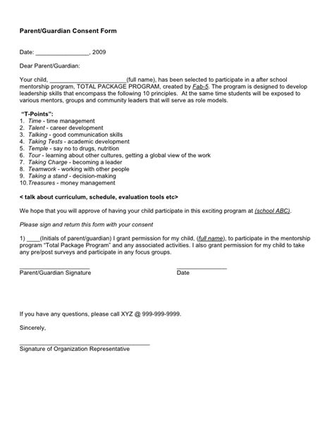 Permission Letter Sle From Parents Consent Letter For Child Observation 28 Images Letter Of Permission For Classroom