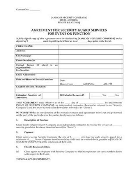 Security Guard Employment Contract Legal Forms And Business Templates Megadox Com Security Guard Template
