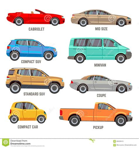 all types of nissan cars car types flat icons stock vector illustration of segment