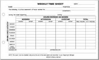 clerical weekly time sheet