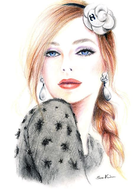 fashion illustration with colored pencils colored pencil drawing chanel camellia fashion inspired