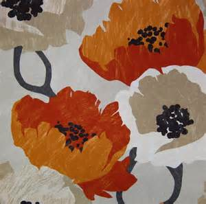 orange floral fabric modern orange fabric by the yard