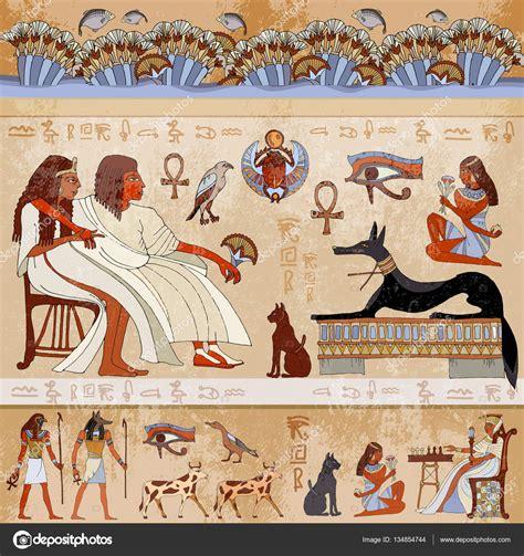 Egyptian Wall Murals ancient egypt scene egyptian gods and pharaohs stock