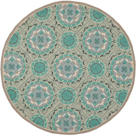 6 foot rug safavieh four seasons mint aqua 6 ft x 6 ft indoor outdoor area rug frs485d 6r the