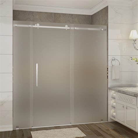Frosted Shower Glass Doors Aston Moselle 72 In X 35 In X 77 5 In Frameless Sliding Shower Door Frosted Glass In Chrome