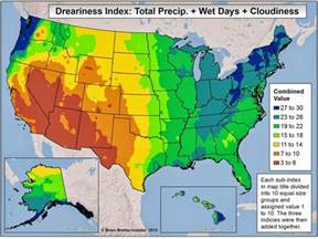 us cities temperature map this dreariness index shows which u s cities the