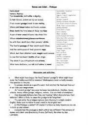 english worksheets romeo and juliet prologue worksheet