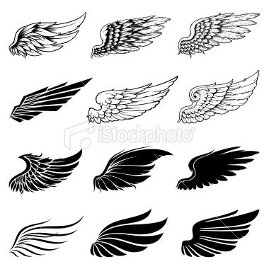 minimalist tattoo wings set of twelve vector wings the collection includes a