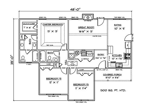House Plans For 1300 Sq Ft 3 Bedroom House Ebay House Plans 1300 Square