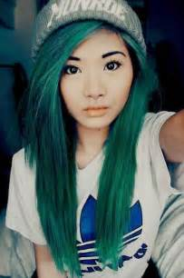 asian with colored green knit hat dyed hair image 2461482 by