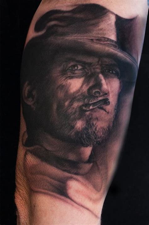 black and grey portrait tattoo dvd black and grey portrait tattoo of clint eastwood by ryan