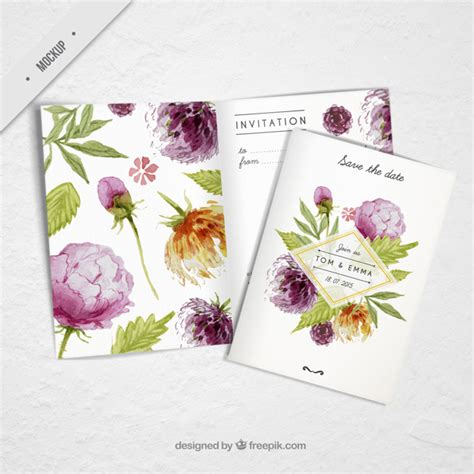Wedding Invitation Psd Files Free by Wedding Invitation With Watercolor Flowers Psd File