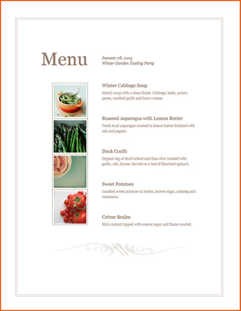 microsoft menu template 8 microsoft menu templates bookletemplate org