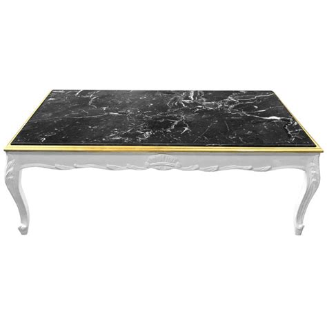 Glossy Coffee Table Large Coffee Table Baroque Style White Glossy Wood And Black Marble