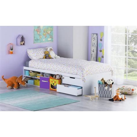 buy home callum cabin bed frame and pull out desk white