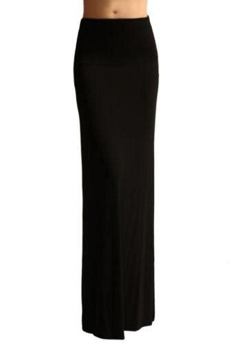 W 09new Zaenab Maxi Jersey s solid rayon ruched high fold waist banded jersey maxi skirt ebay