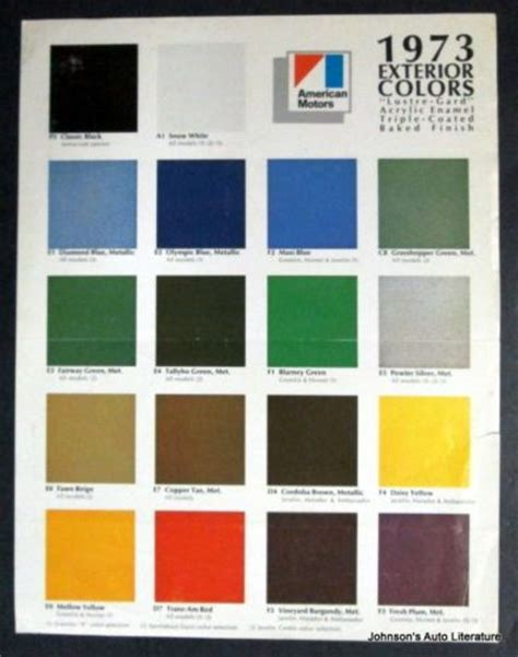 amc 1973 exterior paint colors sales brochure w gremlin hornet etc