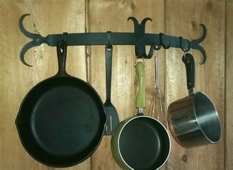 Metal Wall Pot Rack Forged Metal Wall Mounted Pot Rack Antique Vintage Look