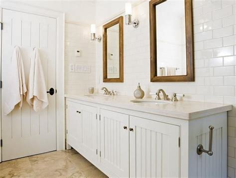 white beadboard mirror crisp white cottage beachy bathroom design with white