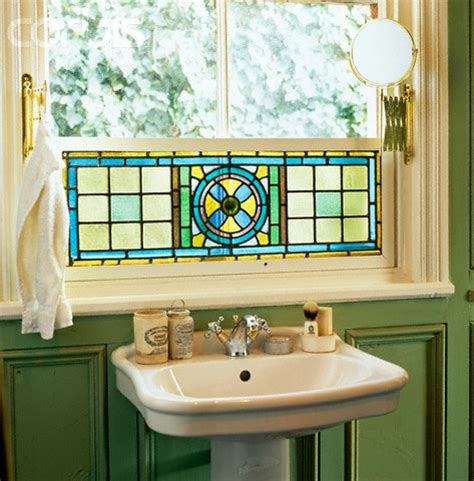 Stained Glass In Bathroom by Picture Of Side View Of A Sink A Stained Glass Window In A Green Bathroom