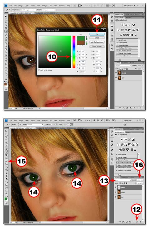 basics change eye color in photoshop