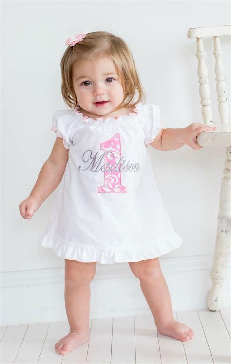 baby girl  birthday dress pink damask  sassy locks