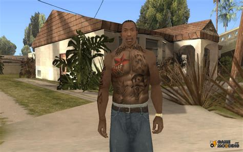 cj tattoo cjs tattoos mod skin for gta san andreas