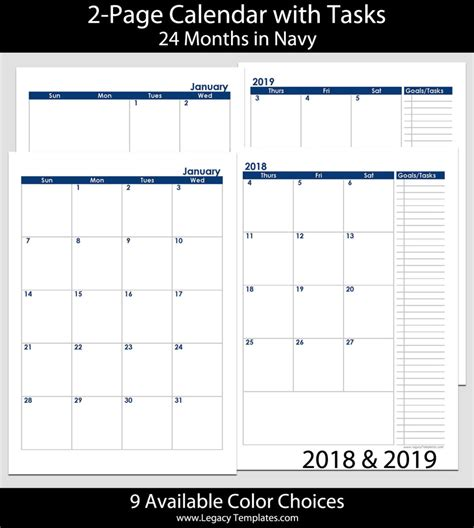 2018 a5 two page per month monthly calendar pages planner 2018 2019 24 months 2 page calendar a5 legacy templates