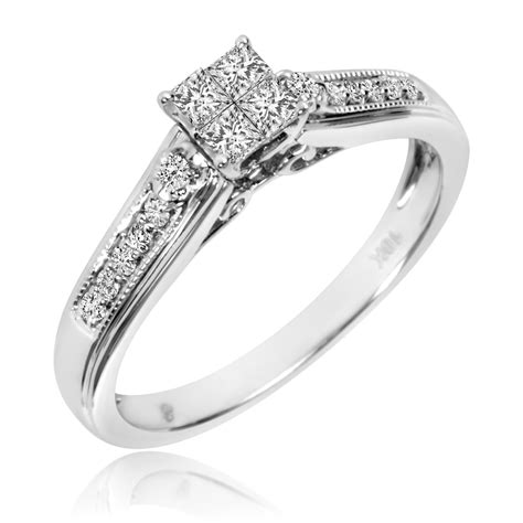 1 4 ct t w engagement ring 10k white