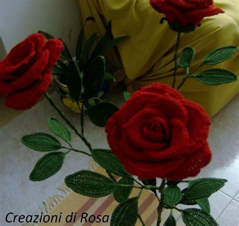 fiori gambo lungo rosse a uncinetto con gambo lungo fiori a uncinetto