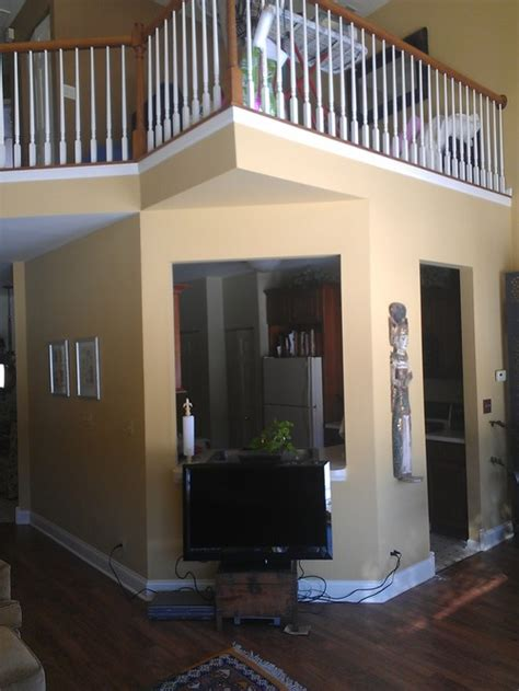 changing paint colors on angled walls and outside corners in an open floor plan